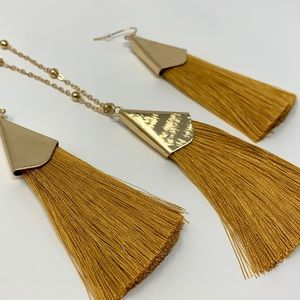 Jewelry - Old Gold Tassel Earrings and Necklace Set